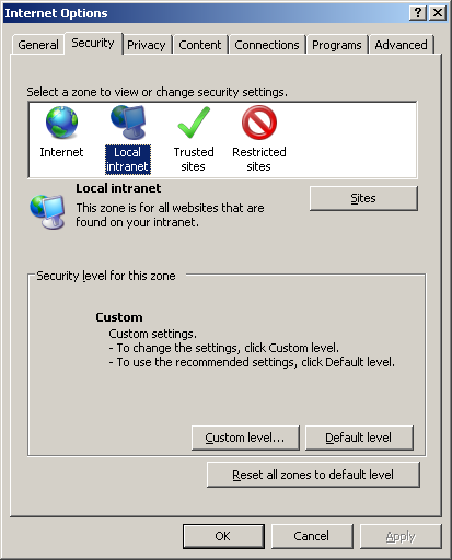 Internet Options Secutiry Tab window