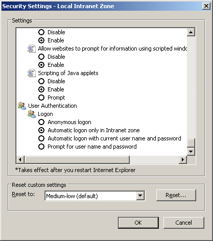 Security Settings window